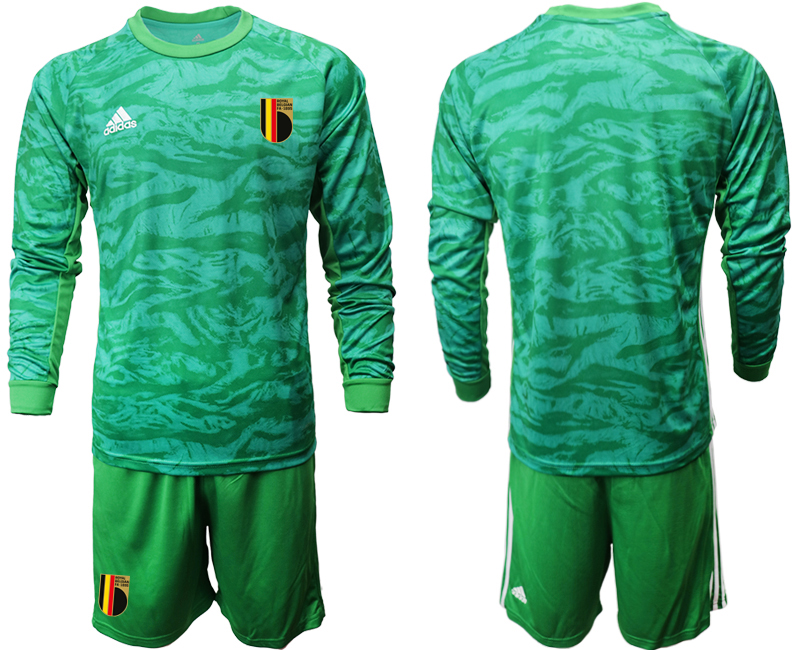 Cheap Men 2021 European Cup Belgium green Long sleeve goalkeeper Soccer Jersey2