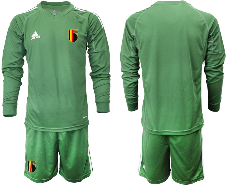 Wholesale Men 2021 European Cup Belgium green Long sleeve goalkeeper Soccer Jersey3