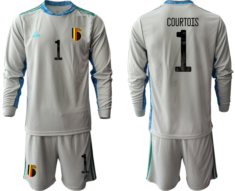 Wholesale Men 2021 European Cup Belgium grey Long sleeve goalkeeper 1 Soccer Jersey