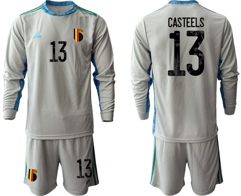 Wholesale Men 2021 European Cup Belgium grey Long sleeve goalkeeper 13 Soccer Jersey