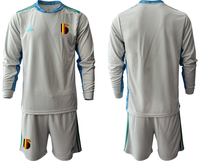 Wholesale Men 2021 European Cup Belgium grey Long sleeve goalkeeper Soccer Jersey