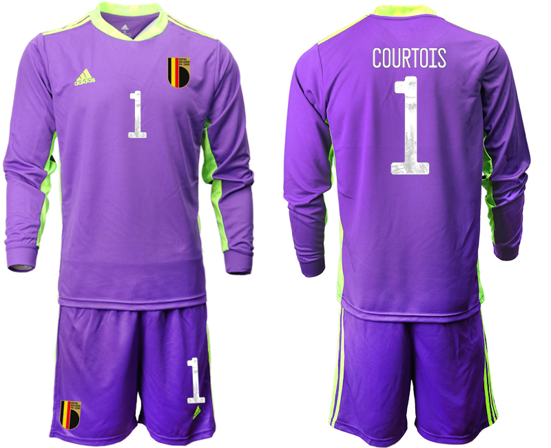 Cheap Men 2021 European Cup Belgium purple Long sleeve goalkeeper 1 Soccer Jersey1