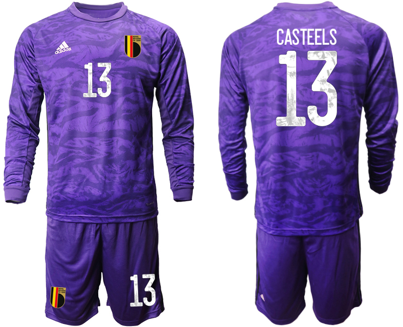 Wholesale Men 2021 European Cup Belgium purple Long sleeve goalkeeper 13 Soccer Jersey