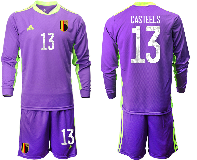 Wholesale Men 2021 European Cup Belgium purple Long sleeve goalkeeper 13 Soccer Jersey1