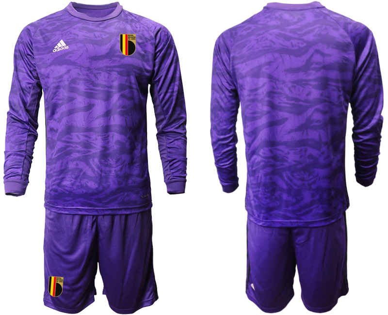 Wholesale Men 2021 European Cup Belgium purple Long sleeve goalkeeper Soccer Jersey