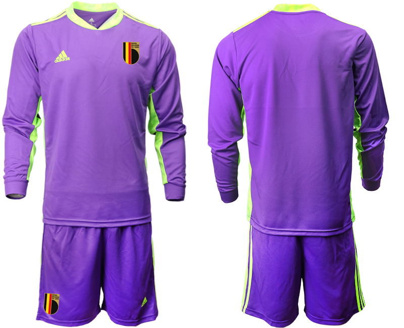 Wholesale Men 2021 European Cup Belgium purple Long sleeve goalkeeper Soccer Jersey1
