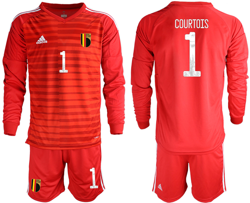 Wholesale Men 2021 European Cup Belgium red Long sleeve goalkeeper 1 Soccer Jersey
