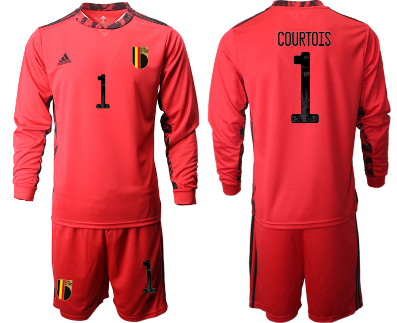 Wholesale Men 2021 European Cup Belgium red Long sleeve goalkeeper 1 Soccer Jersey1