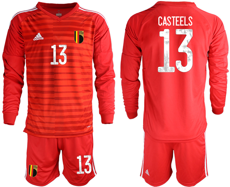 Wholesale Men 2021 European Cup Belgium red Long sleeve goalkeeper 13 Soccer Jersey