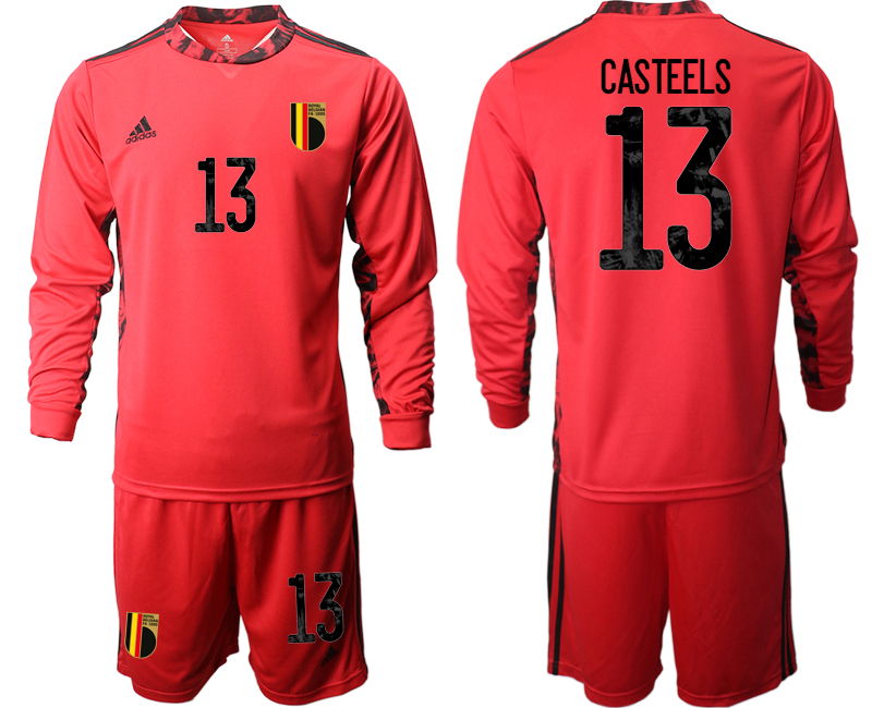 Wholesale Men 2021 European Cup Belgium red Long sleeve goalkeeper 13 Soccer Jersey1