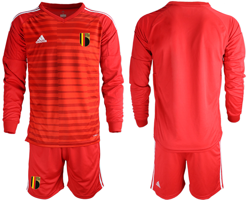 Wholesale Men 2021 European Cup Belgium red Long sleeve goalkeeper Soccer Jersey