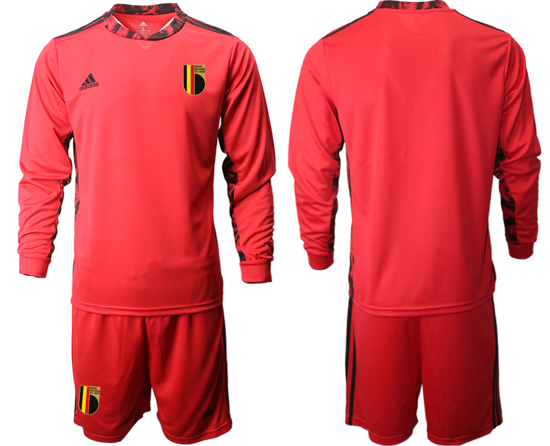 Wholesale Men 2021 European Cup Belgium red Long sleeve goalkeeper Soccer Jersey1