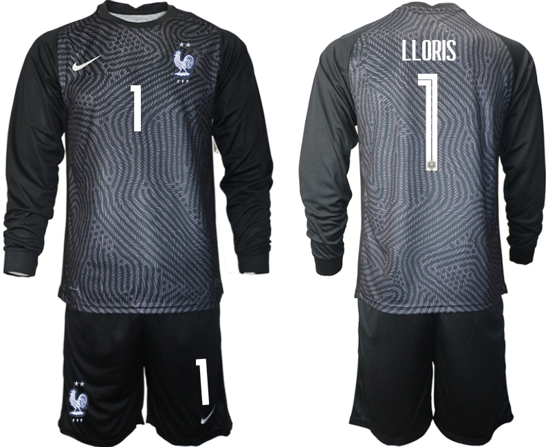 Wholesale Men 2021 European Cup France black Long sleeve goalkeeper 1 Soccer Jersey