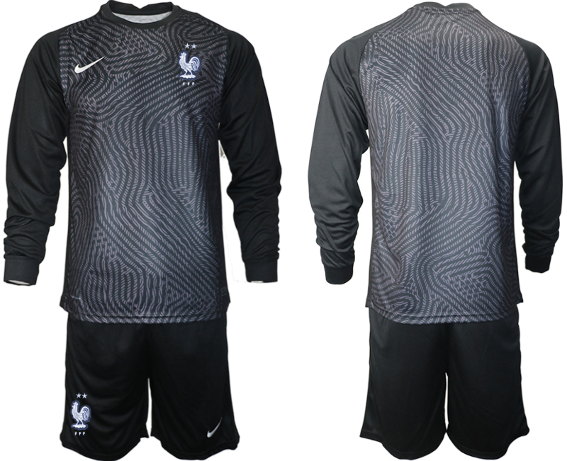 Wholesale Men 2021 European Cup France black Long sleeve goalkeeper Soccer Jersey