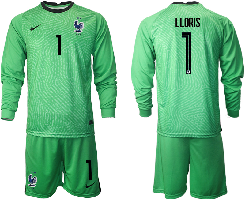 Wholesale Men 2021 European Cup France green Long sleeve goalkeeper 1 Soccer Jersey