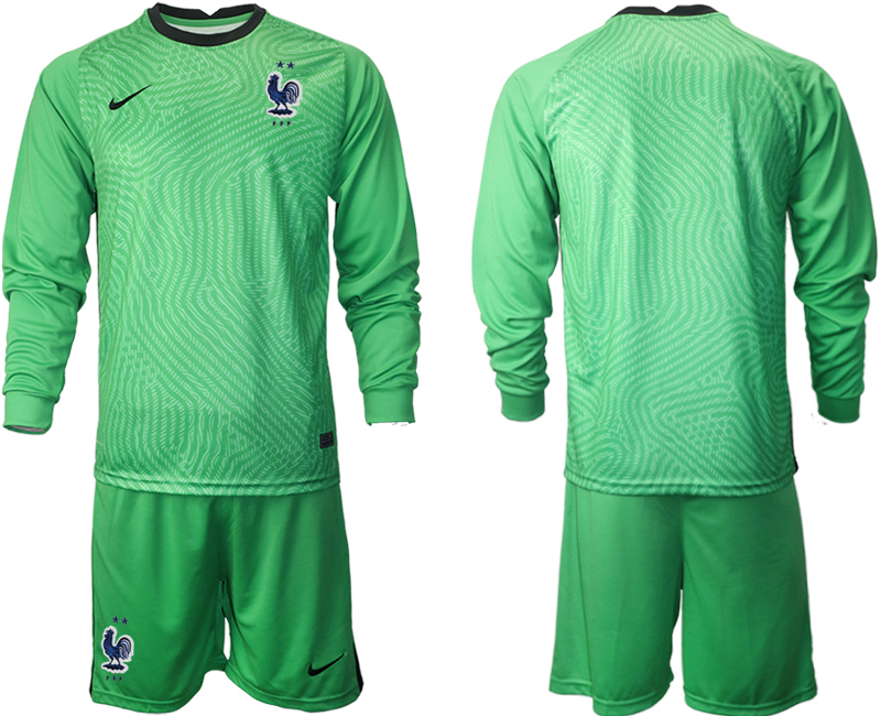 Cheap Men 2021 European Cup France green Long sleeve goalkeeper Soccer Jersey