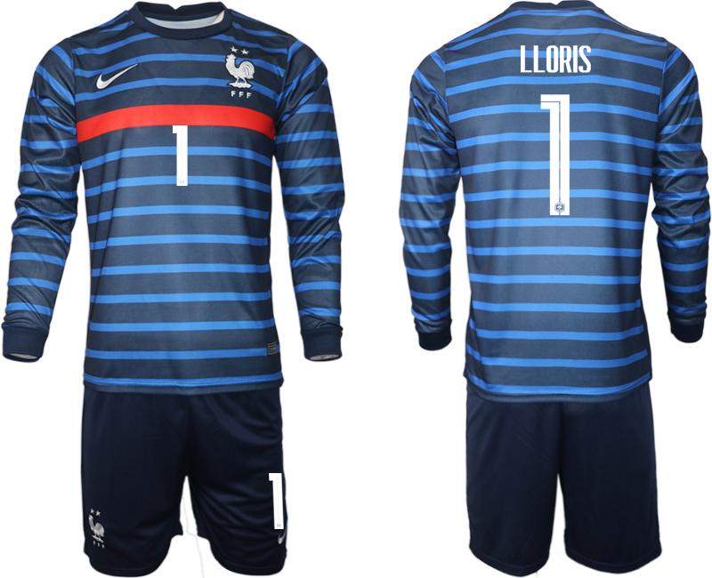 Cheap Men 2021 European Cup France home blue Long sleeve 1 Soccer Jersey