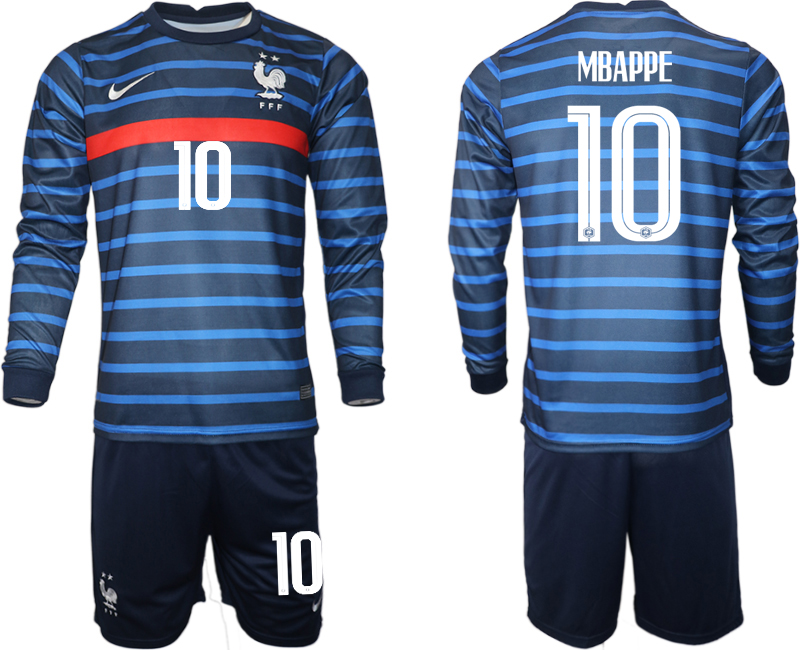 Cheap Men 2021 European Cup France home blue Long sleeve 10 Soccer Jersey