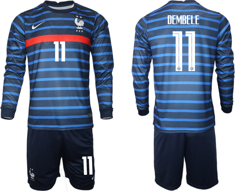 Cheap Men 2021 European Cup France home blue Long sleeve 11 Soccer Jersey1