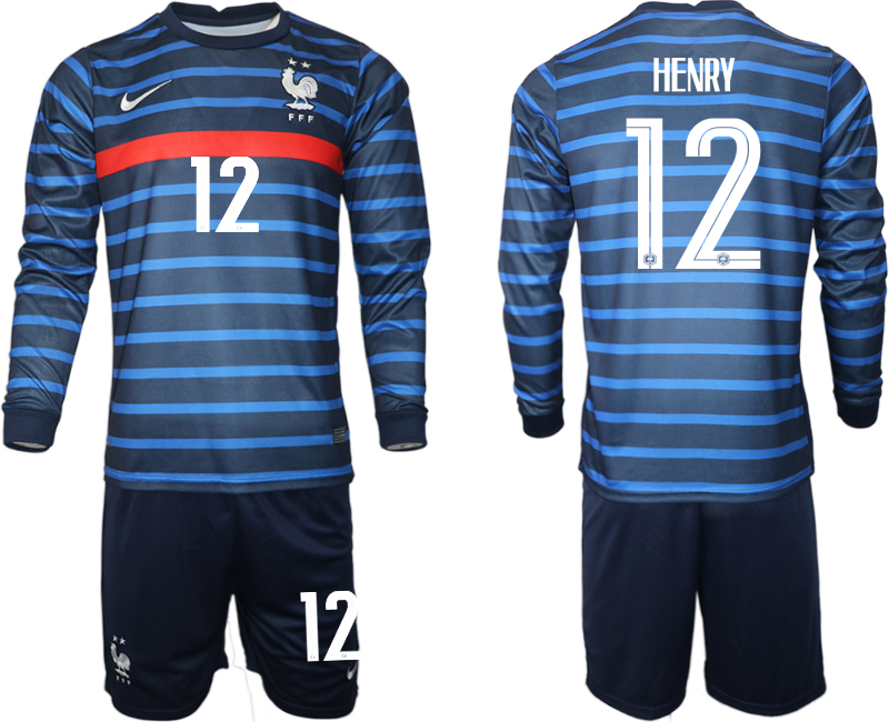 Wholesale Men 2021 European Cup France home blue Long sleeve 12 Soccer Jersey
