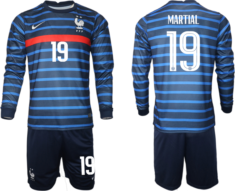 Wholesale Men 2021 European Cup France home blue Long sleeve 19 Soccer Jersey