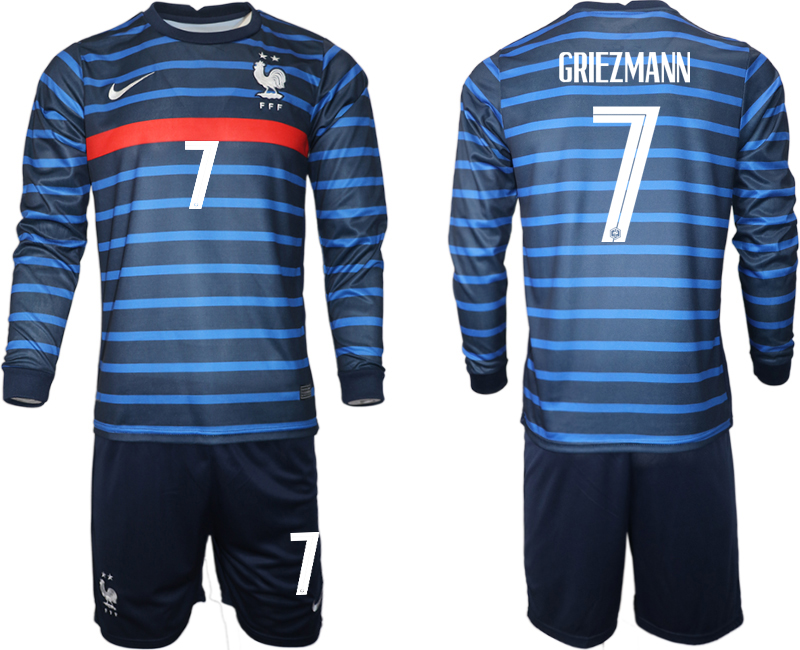 Cheap Men 2021 European Cup France home blue Long sleeve 7 Soccer Jersey