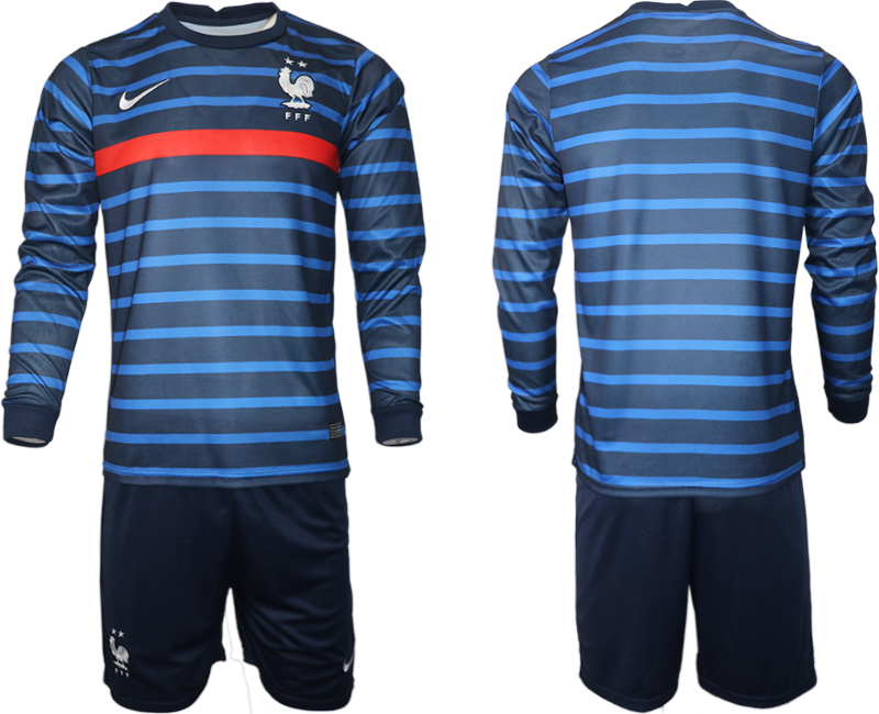 Cheap Men 2021 European Cup France home blue Long sleeve Soccer Jersey