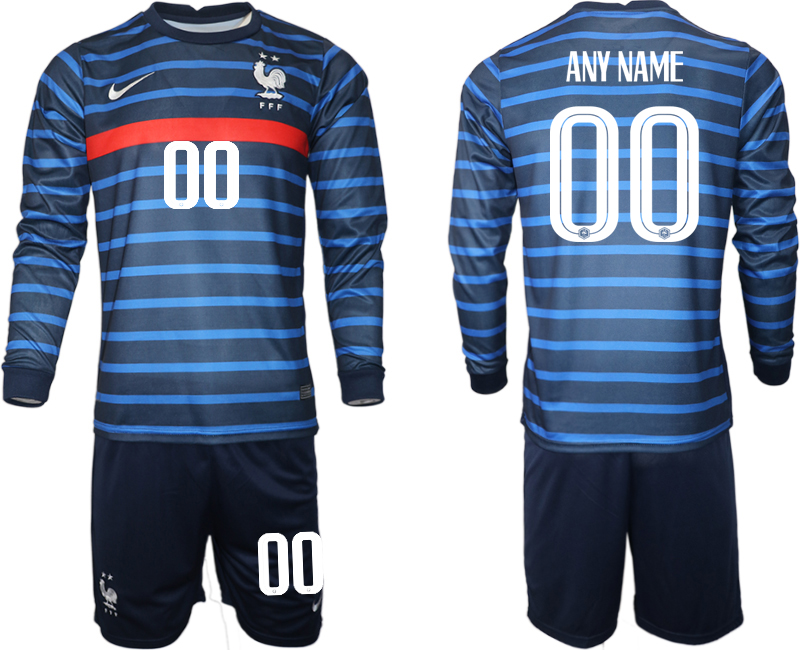Cheap Men 2021 European Cup France home blue Long sleeve customized Soccer Jersey