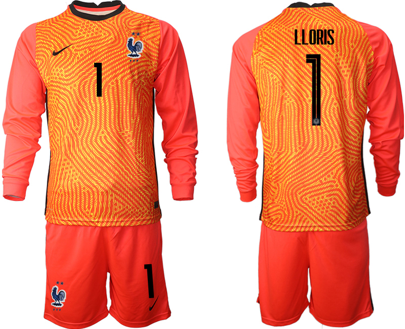 Cheap Men 2021 European Cup France red Long sleeve goalkeeper 1 Soccer Jersey