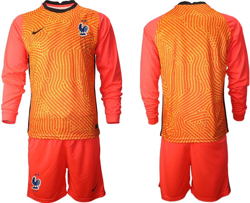 Wholesale Men 2021 European Cup France red Long sleeve goalkeeper Soccer Jersey
