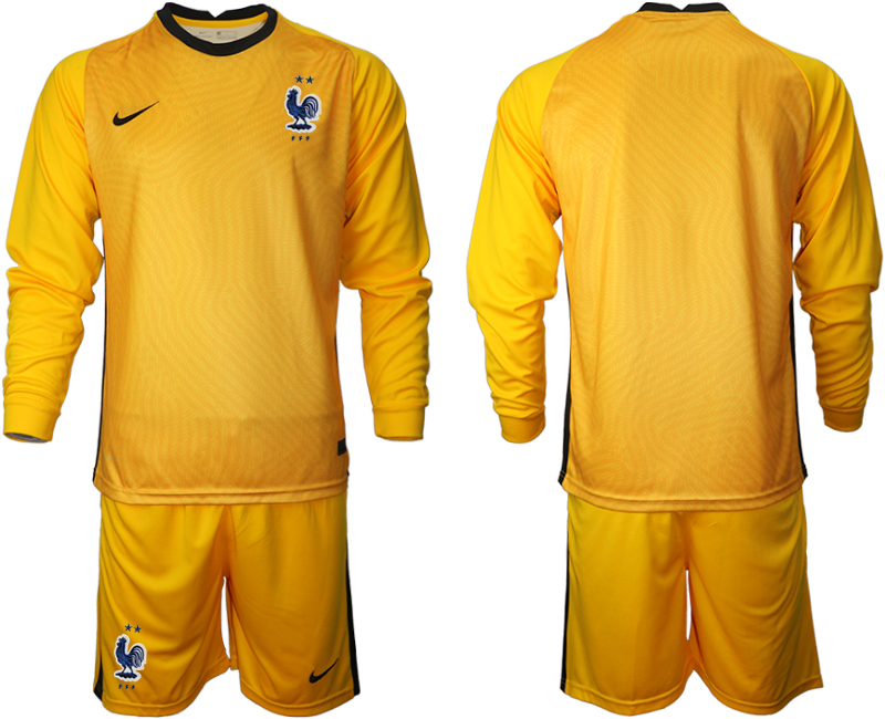 Cheap Men 2021 European Cup France yellow Long sleeve goalkeeper Soccer Jersey