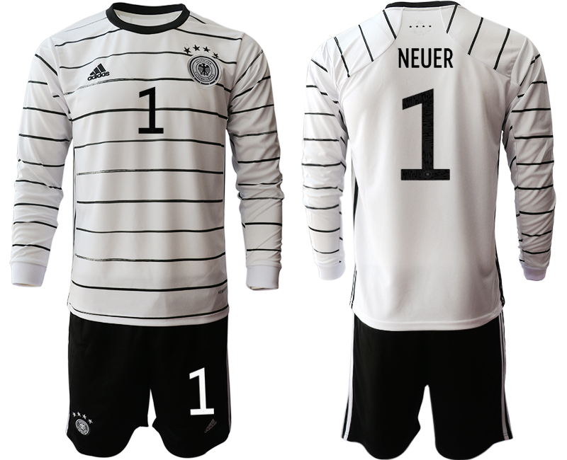 Wholesale Men 2021 European Cup Germany home white Long sleeve 1 Soccer Jersey