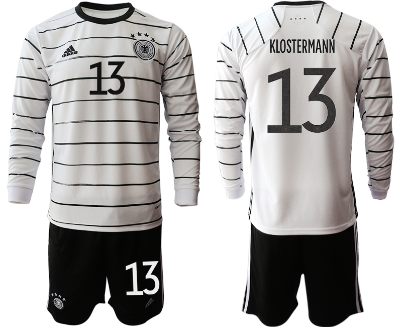 Wholesale Men 2021 European Cup Germany home white Long sleeve 13 Soccer Jersey1