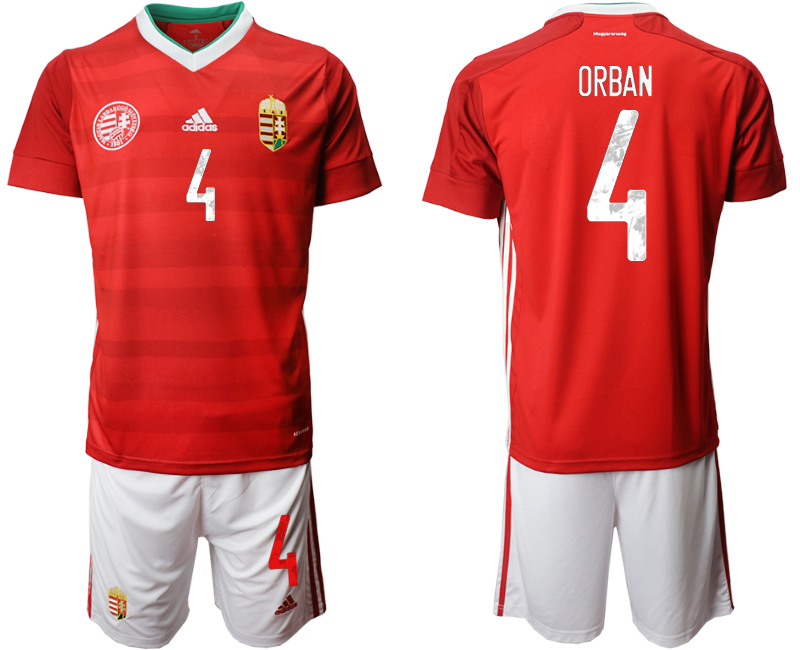 Wholesale Men 2021 European Cup Hungary red home 4 Soccer Jersey
