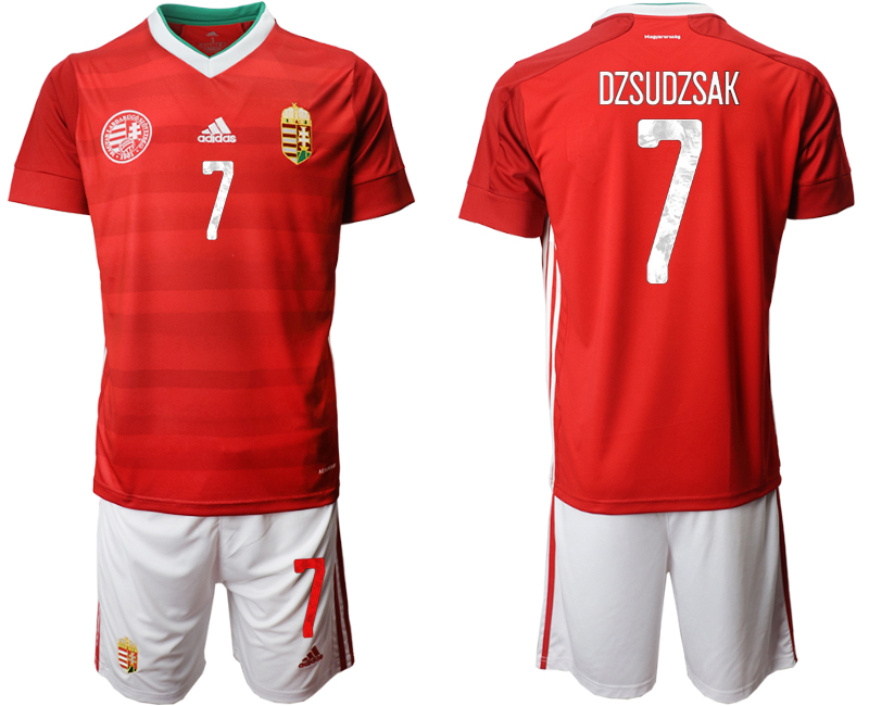 Wholesale Men 2021 European Cup Hungary red home 7 Soccer Jersey