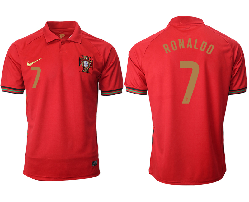 Cheap Men 2021 European Cup Portugal home aaa version red 7 Soccer Jersey