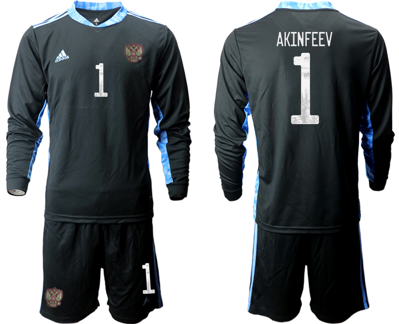 Wholesale Men 2021 European Cup Russia black Long sleeve goalkeeper 1 Soccer Jersey
