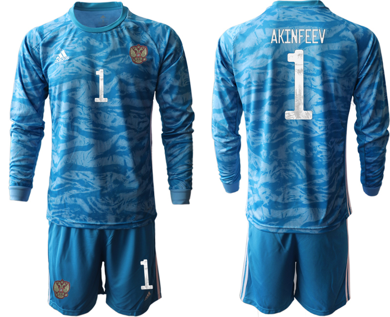 Wholesale Men 2021 European Cup Russia blue Long sleeve goalkeeper 1 Soccer Jersey