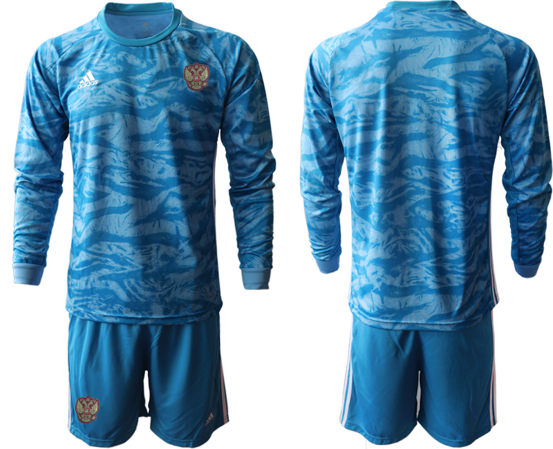 Wholesale Men 2021 European Cup Russia blue Long sleeve goalkeeper Soccer Jersey