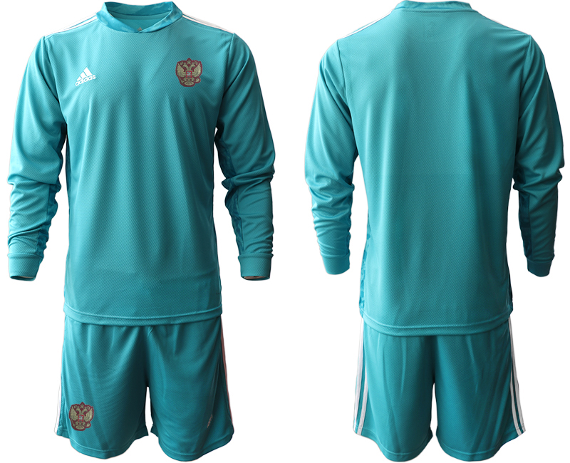 Wholesale Men 2021 European Cup Russia blue Long sleeve goalkeeper Soccer Jersey1