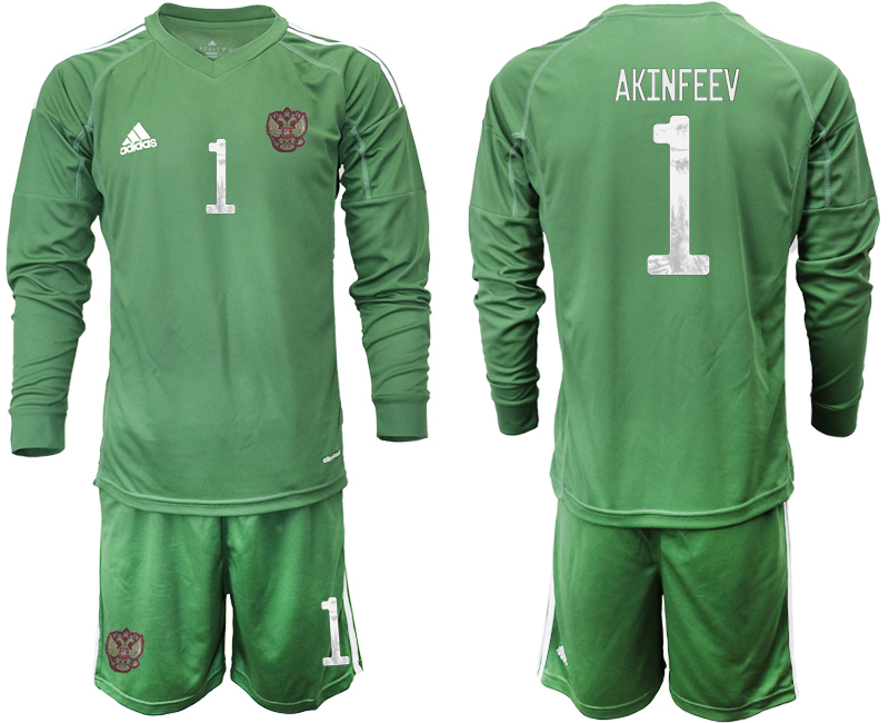 Wholesale Men 2021 European Cup Russia green Long sleeve goalkeeper 1 Soccer Jersey1