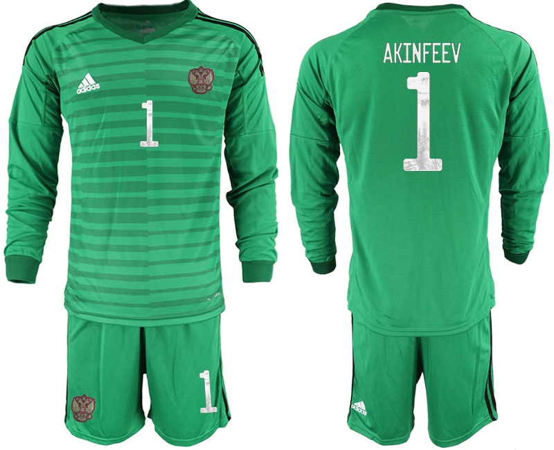 Wholesale Men 2021 European Cup Russia green Long sleeve goalkeeper 1 Soccer Jersey2