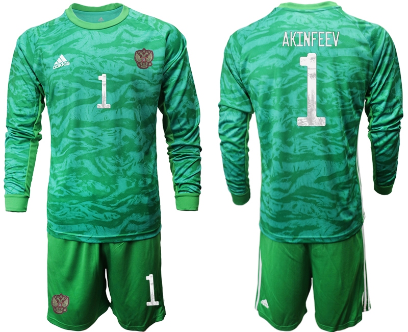 Wholesale Men 2021 European Cup Russia green Long sleeve goalkeeper 1 Soccer Jersey3