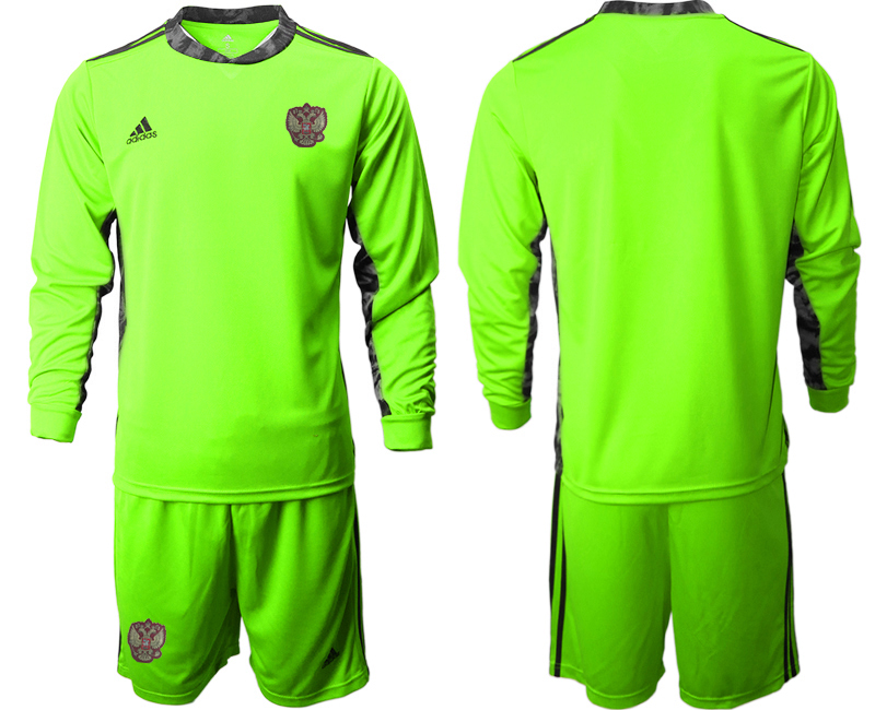 Wholesale Men 2021 European Cup Russia green Long sleeve goalkeeper Soccer Jersey