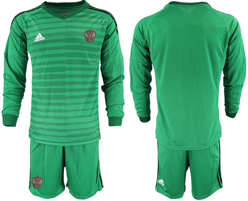 Wholesale Men 2021 European Cup Russia green Long sleeve goalkeeper Soccer Jersey1