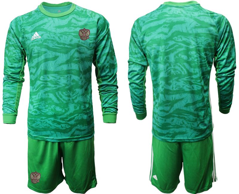 Wholesale Men 2021 European Cup Russia green Long sleeve goalkeeper Soccer Jersey2