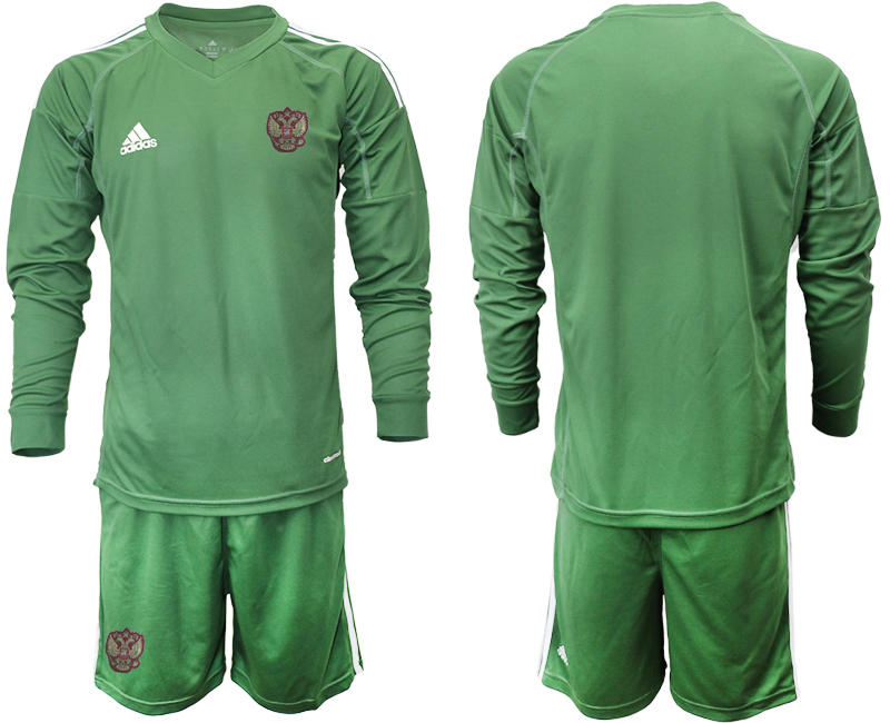 Wholesale Men 2021 European Cup Russia green Long sleeve goalkeeper Soccer Jersey3