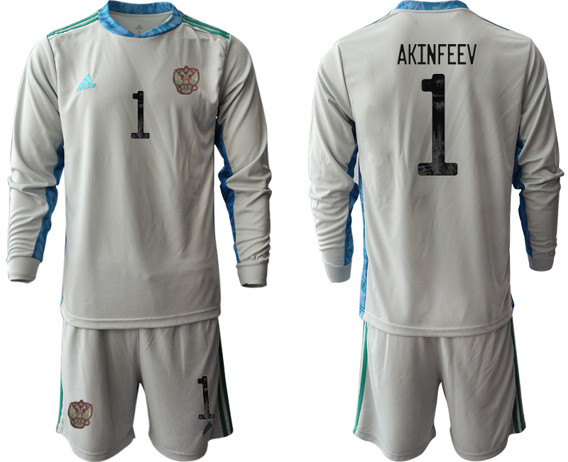 Wholesale Men 2021 European Cup Russia grey Long sleeve goalkeeper 1 Soccer Jersey