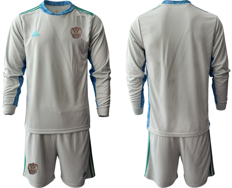 Wholesale Men 2021 European Cup Russia grey Long sleeve goalkeeper Soccer Jersey