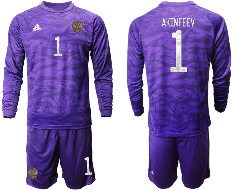 Wholesale Men 2021 European Cup Russia purple Long sleeve goalkeeper 1 Soccer Jersey
